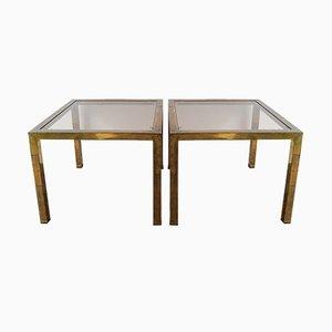 Table d'Appoint ou Table Basse Vintage en Plaqué Laiton et Plateau Fixé en Verre, Set de 2