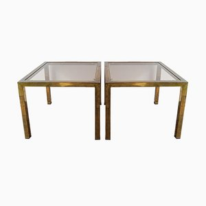 Vintage Brass-Plated Metal Side or Coffee Tables with Fitted Glass Tops, Set of 2
