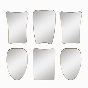Italian Brass-Framed Mirrors, 1950s, Set of 6