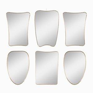 Italienische Spiegel mit Messingrahmen, 1950er, 6er Set