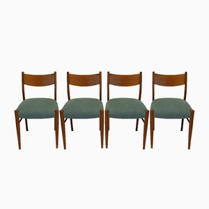 Italian Oak Chairs, 1950s, Set of 4