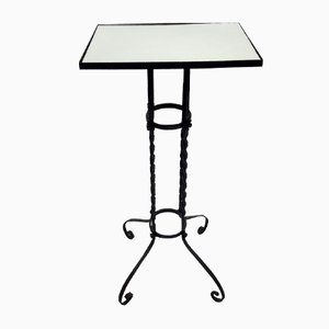 Tavolino da giardino vintage con ripiano specchiato