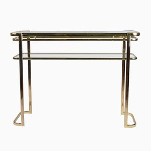 Console Table with Brass Frame & Glass Top by Milo Baughman for Morex of Italy, 1970s