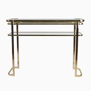 Table Console avec Structure en Laiton et Plateau en Verre par Milo Baughman pour Morex de Italy, 1970s