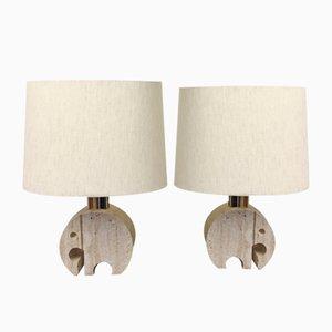 Lampade da tavolo con base a forma di elefante in travertino dei Fratelli Mannelli, anni '70, set di 2