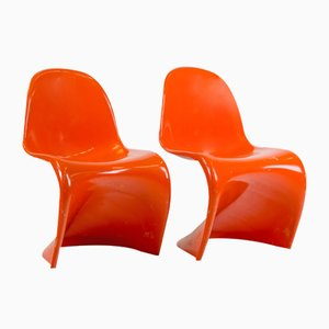 Mid-Century 1st Edition Orange Panton Chairs by Verner Panton for Fehlbaum, Set of 2