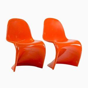 Mid-Century Panton Chairs in Orange aus erster Auflage von Verner Panton für Vitra, 2er Set