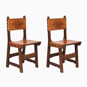 Vintage Spanish Hall Chairs, Set of 2
