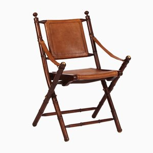 Leather & Bamboo Folding Chair, 1980s