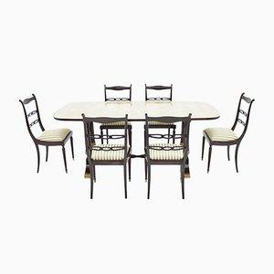 Italienischer Mid-Century Tisch & 6 Stühle von Fratelli Strada