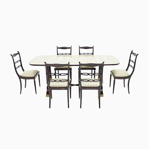 Mid-Century Italian Table & 6 Chairs from Fratelli Strada