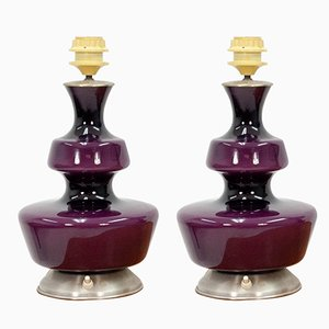 Purple Table Lamps from Holmegaard, 1960s, Set of 2