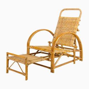 Chaise Longue de Jardin en Rotin par Erich Dieckmann