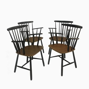 Vintage Scandinavian Spindleback Dining Chairs, 1950s, Set of 4