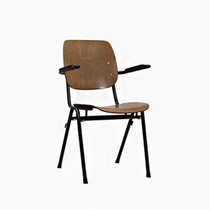 Dutch Industrial Plywood Chair, 1960s
