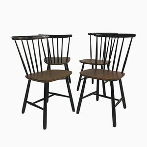 Vintage Scandinavian Spindle Back Dining Chairs, 1950s, Set of 4