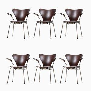 Chaises de Salle à Manger en Palissandre par Arne Jacobsen pour Fritz Hansen, 1950s, Set de 6