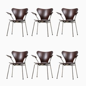 Rosewood Dining Chairs by Arne Jacobsen for Fritz Hansen, 1950s, Set of 6