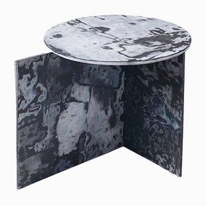 Round Bahia Denim Slate Side Table by Sophie Rowley