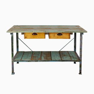 Industrial Workbench with 2 Drawers in Turquoise, 1930s