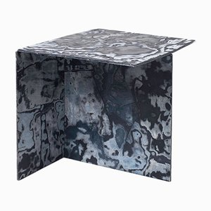 Square Bahia Denim Slate Side Table by Sophie Rowley