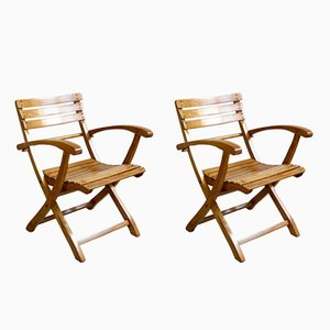 Art Nouveau Winter Garden Folding Chairs, 1910s, Set of 2