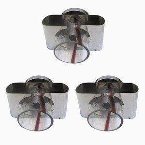 Vintage Wandlampen aus Murano Glas und Stahl, 1970er, 3er Set