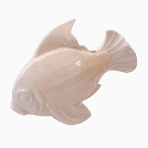 Large Fish Sculpture with Pink Faience by Lejan, 1920s