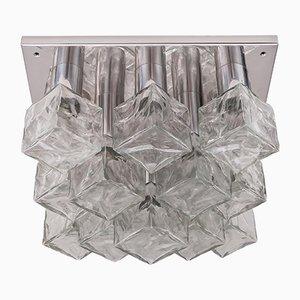 Luz de pared de cristal de hierro fundido y niquelado de Kalmar, años 70