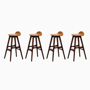 Model OD-61 Bar Stools by Erik Buch for Oddense Maskinsnedkeri, 1960s, Set of 4
