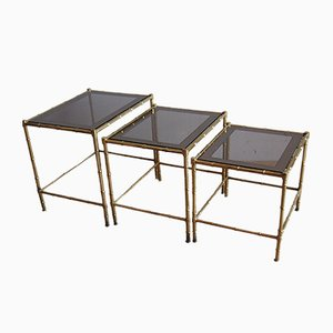 Brass & Glass Nesting Tables, 1960s