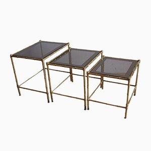 Tavolini a incastro in ottone e vetro, anni '60