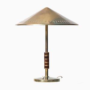 Lámpara de mesa de latón y caoba, años 60