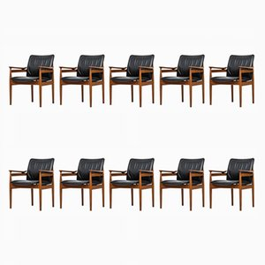 Model 192 Armchairs by Finn Juhl for France & Søn, 1960s, Set of 10