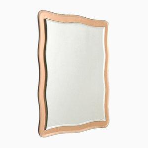 Specchio da parete con cornice rosa, Italia, anni '70