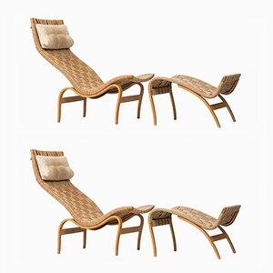 Pernilla Lounge Chairs with Stools by Bruno Mathsson for Karl Mathsson AB, 1978, Set of 2
