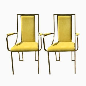 Vintage Metal Yellow Carver Chairs, Set of 2