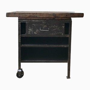 Consola vintage de metal y madera
