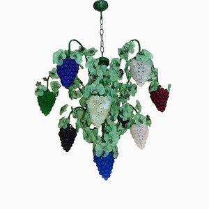 Lámpara de araña con uvas de cristal de Murano de Cesare Toso, años 70