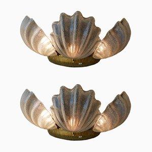 Lámparas de pared en forma de caracola de cristal de Murano, años 80. Juego de 2