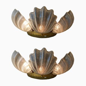 Murano Glass Shell Wall Lights, 1980s, Set of 2