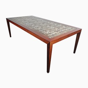 Scandinavian Ceramic and Rosewood Coffee Table by Severin Hansen for Haslev Møbelsnedkeri, 1960s