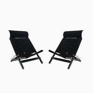 Schwarze klappbare Vintage Liegestühle, 2er Set