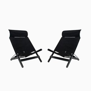 Vintage Black Canvas Folding Chairs, Set of 2