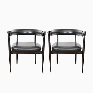 Italian Lacquered Wood & Faux Leather Chairs from Fratelli Reguitti, 1960s, Set of 2