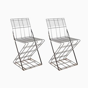 Italian Metal Wire Chairs, 1980s, Set of 2