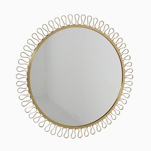 Large Vintage Brass Mirror