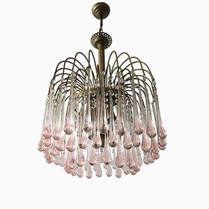 Lámpara de araña con gotas de cristal de Murano de Paolo Venini para Venini, años 60