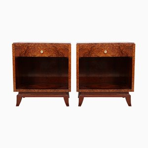French Art Deco Nightstands in Thuya, 1920s, Set of 2