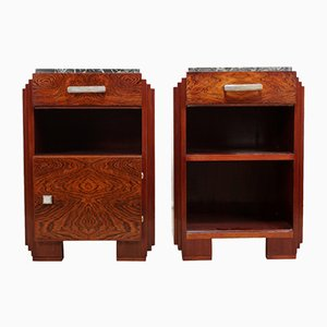 Art Deco Bedside Cabinets with Marble Tops, 1920s, Set of 2